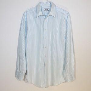 Calvin Klein wht/turtoq pinstripe slim dress shirt